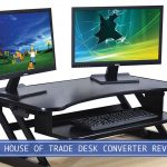 two desktop monitors and keyboard with the house of trade standing desk converter