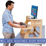 featured image of man with monitor, keyboard and mouse on the well desk adjustable riser