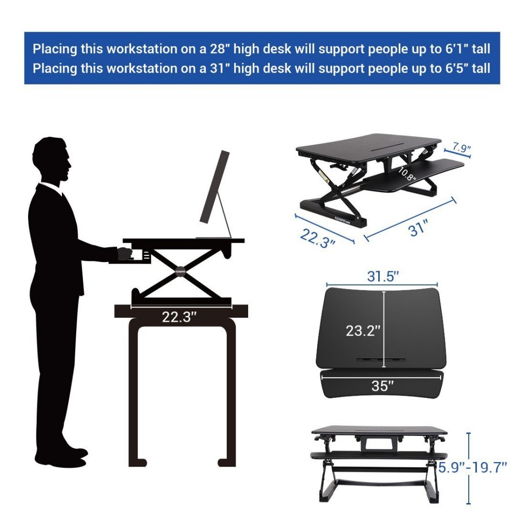 flexispot standing desk measurements