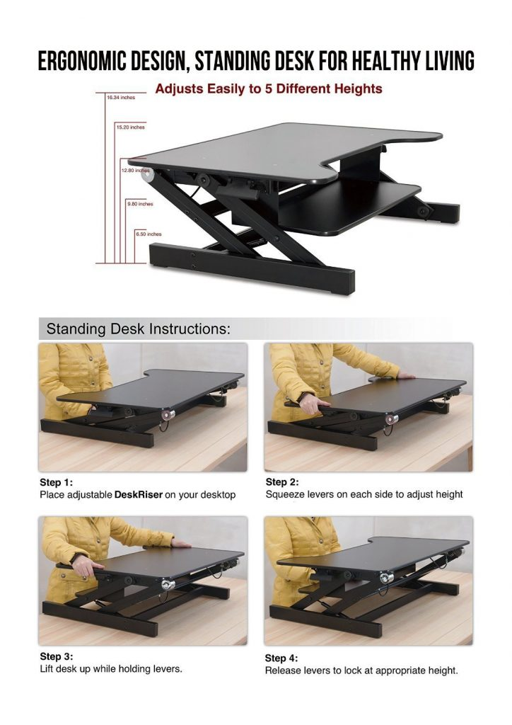 instructions using house of trade standing desk and height dimensions