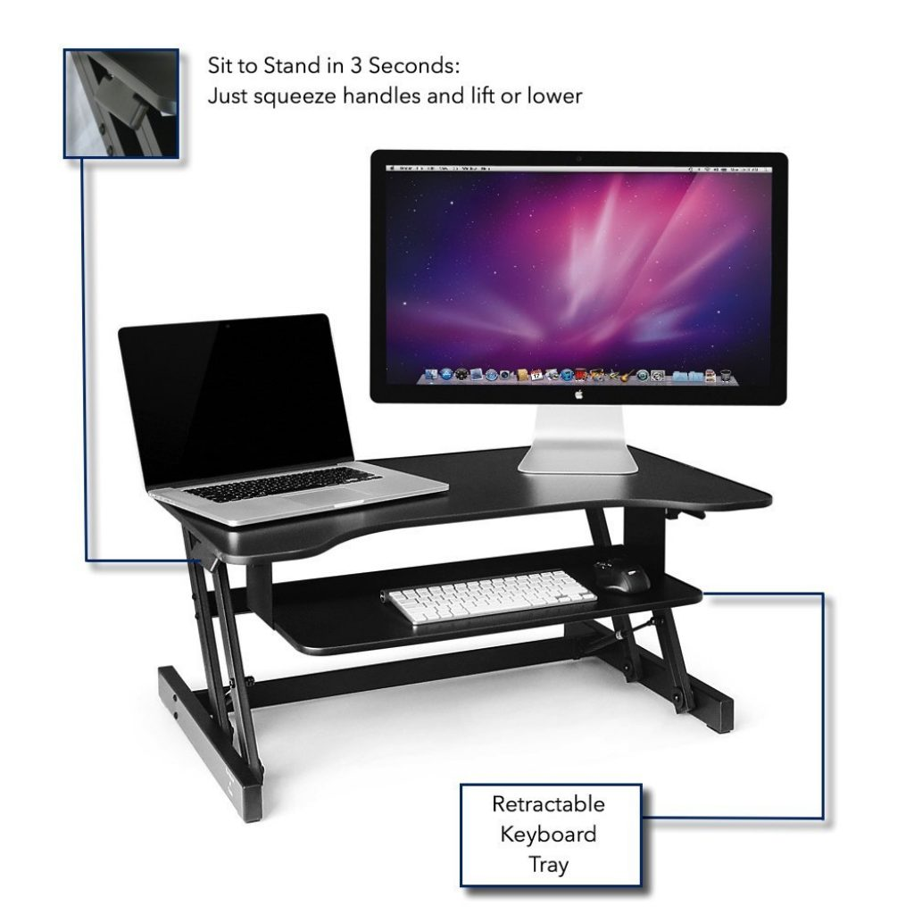 retractable tray on the standing desk