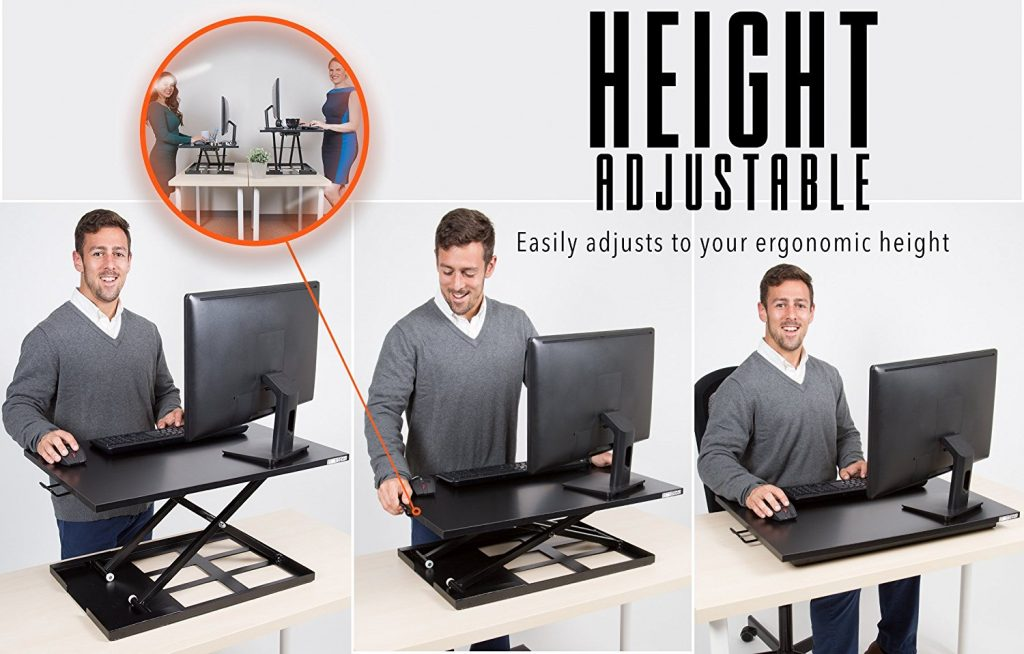 man demonstrating the stand steady x elite pro while sitting down, 3 levels, standing, middle rise, sitting