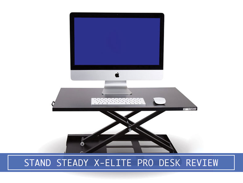 apple imac with mouse and keyboard on top of stand steady's x-elite pro standing desk converter