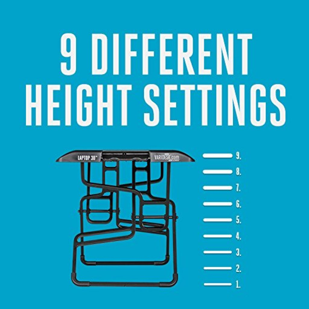 different height settings of the varidesk laptop 30 standing desk
