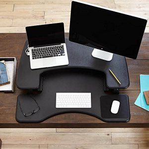 ariel view of the varidesk pro plus 36 black stand up desk converter
