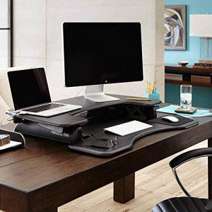 side view of the varidesk pro plus 36 black stand up desk converter