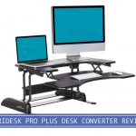 apple laptop and imac with mouse and keyboard on top of varidesk pro plus 36 standing desk a converter
