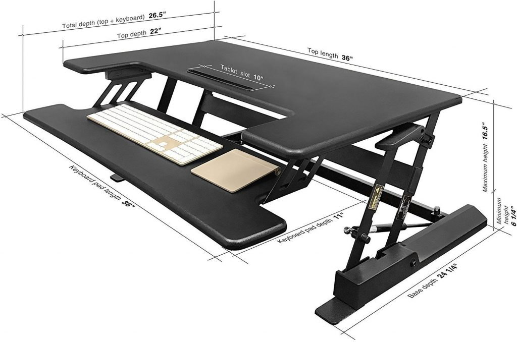 deskdoc stand up desk measurements, width, height, depth
