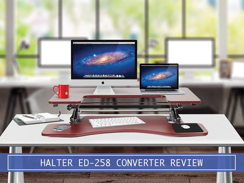 apple device on the halter ed-258 desktop converter with a red coffee cup