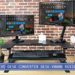 two monitors on the vivo desk-v000b adjustable height stand up desk converter
