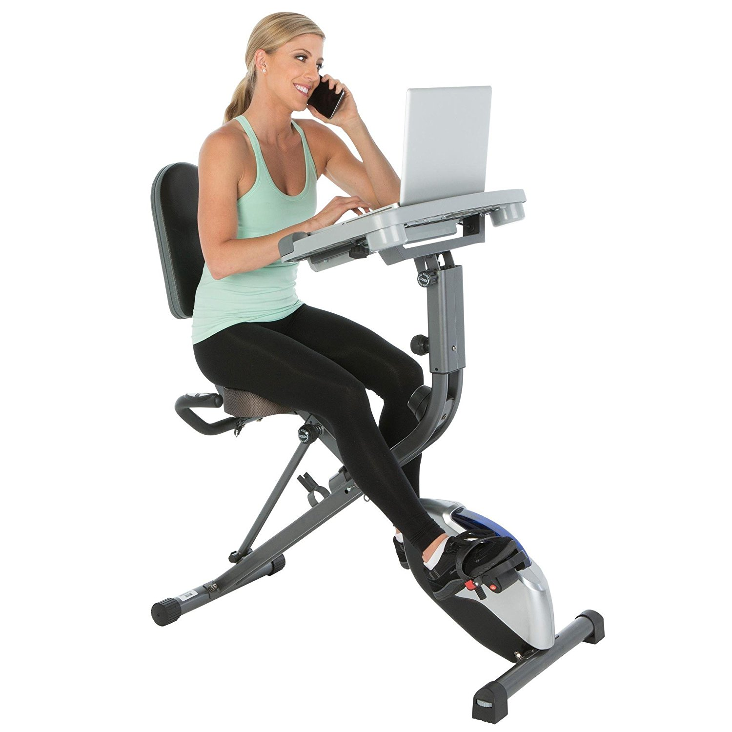 woman on the phone using the exerpeutic workfit 1000 exercise bike