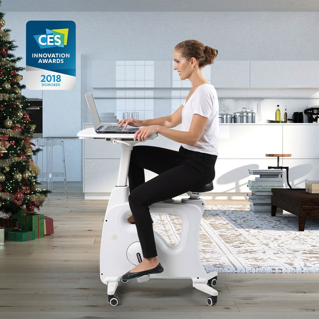 woman using the flexispot deskcise pro exercise bike