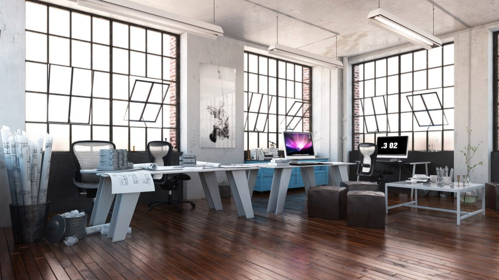 open office space with large windows, natural light