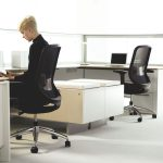 woman on a contemporary office chair
