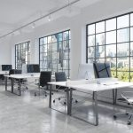 beautiful open workspace with large windows