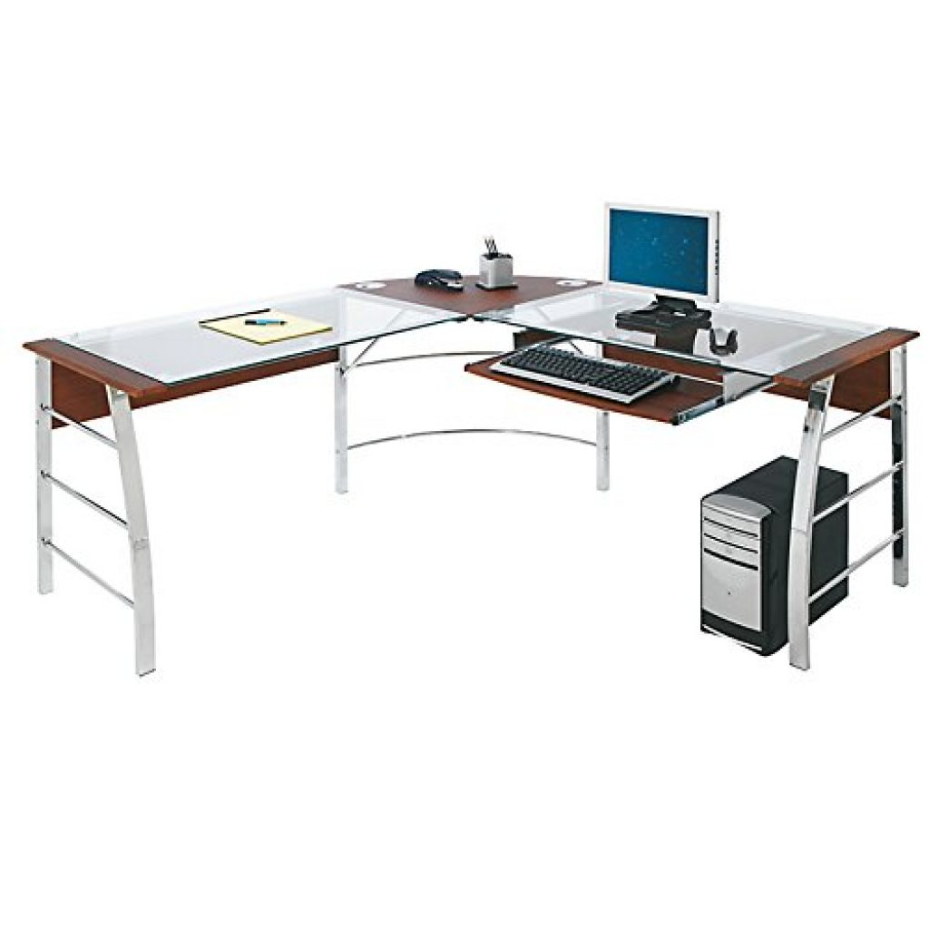 real space mezza l-shaped glass top desk