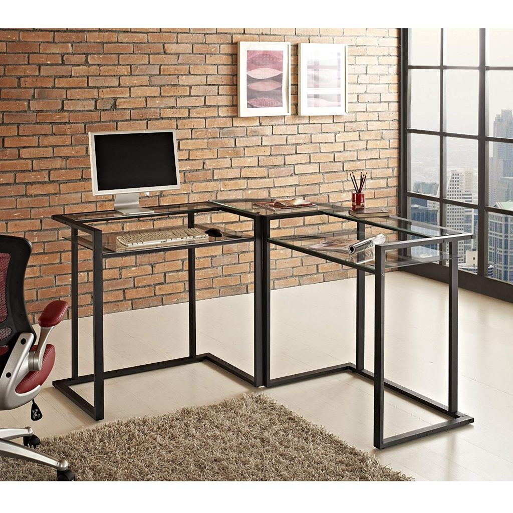 we furniture metal corner l-shaped computer desk