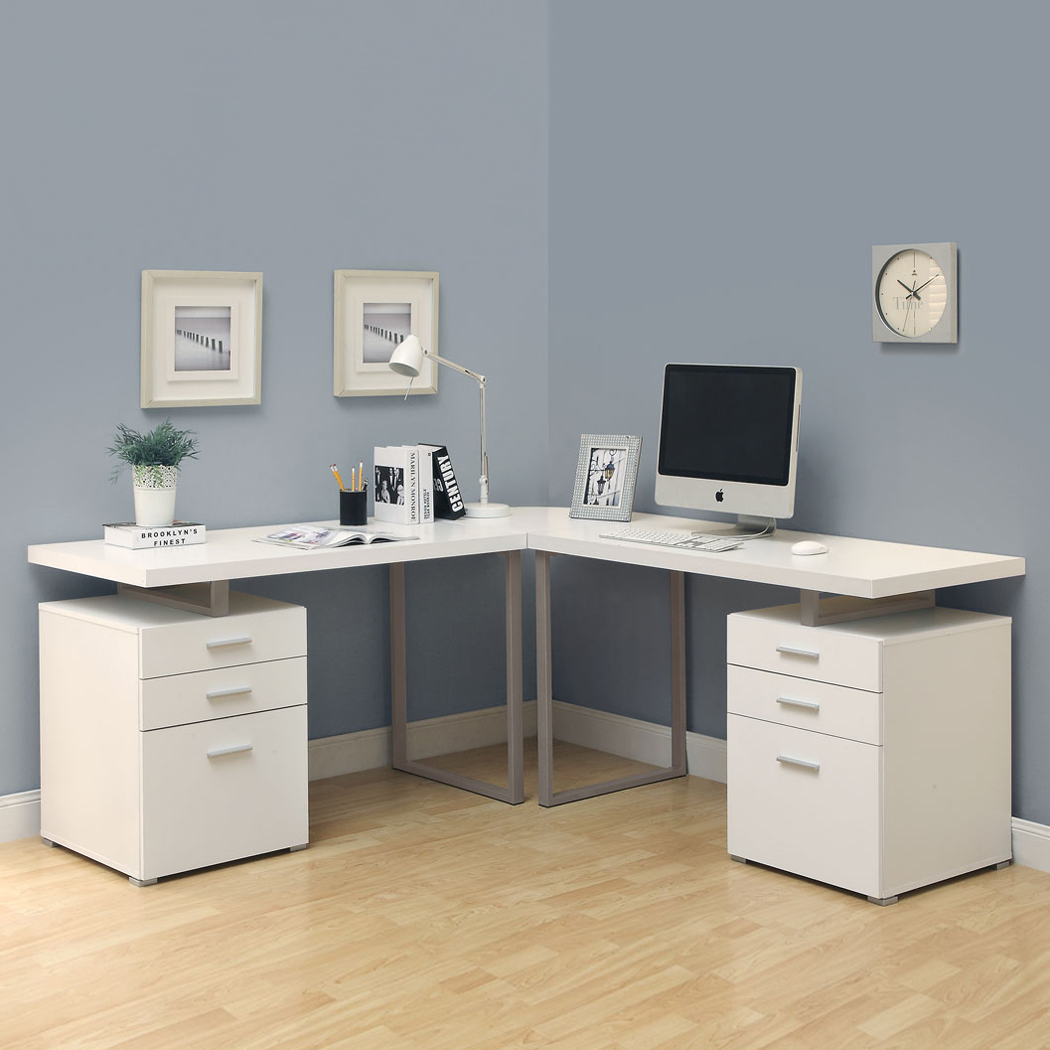 l shaped office desk cheap. Glass L-shaped Desk All White Modern And Contemporary Design L Shaped Office Cheap