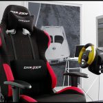 dxracer gaming chair with car racer console game