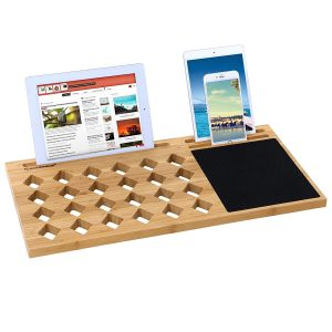 laptop lap desk with bamboo surface and multiple smart device slots