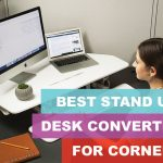white stand up desk converter for corners and cubicles