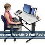 woman using the ergotron workfit d standing desk