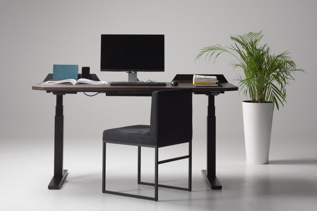 UFO Stand Up Desk with Modern Plant and Chair