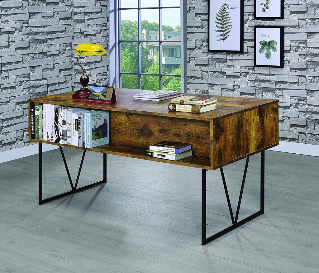 Coaster Analiese Industrial Antique Nutmeg Writing Desk with Four Drawers