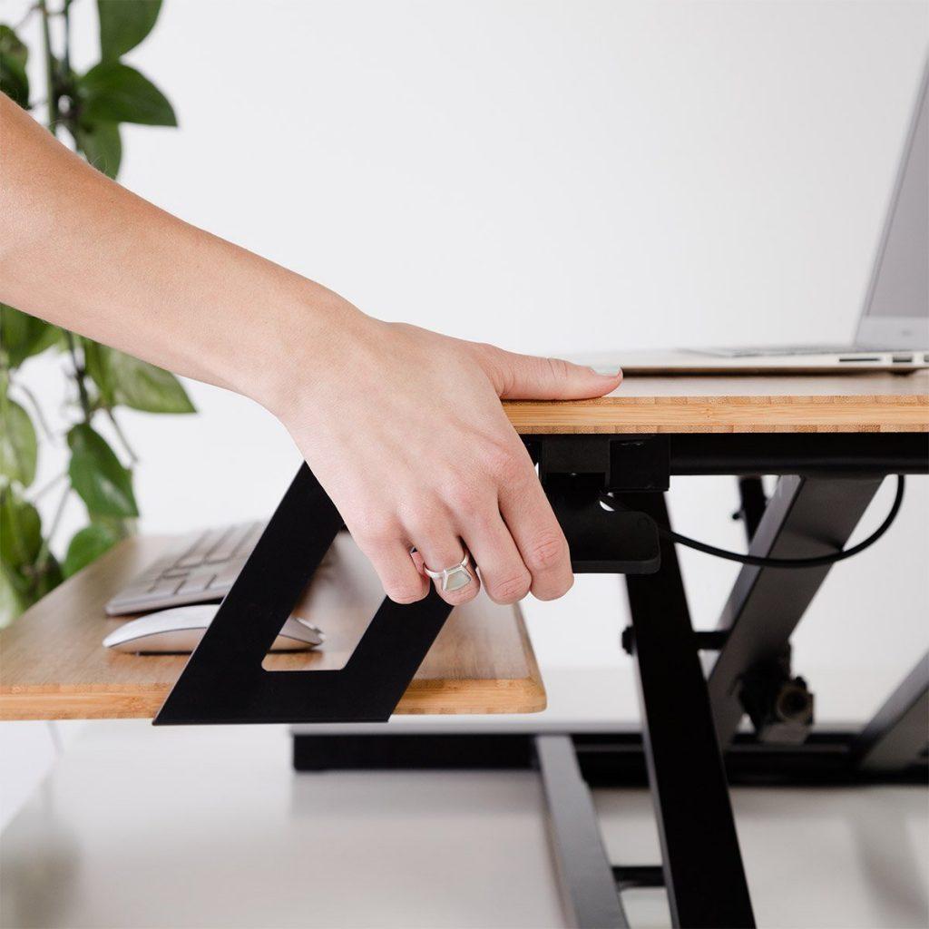 adjusting the fully cooper bamboo desk converter