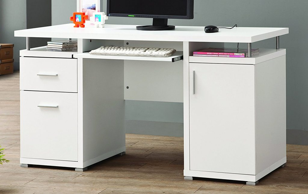 Coaster Contemporary Computer Desk with 2 Drawers and Cabinet