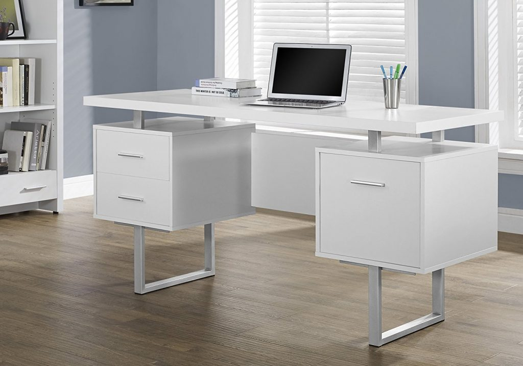 Monarch Specialties White Hollow Core/Silver Metal Office Desk
