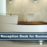 white curved reception desk modern glass top with wood top