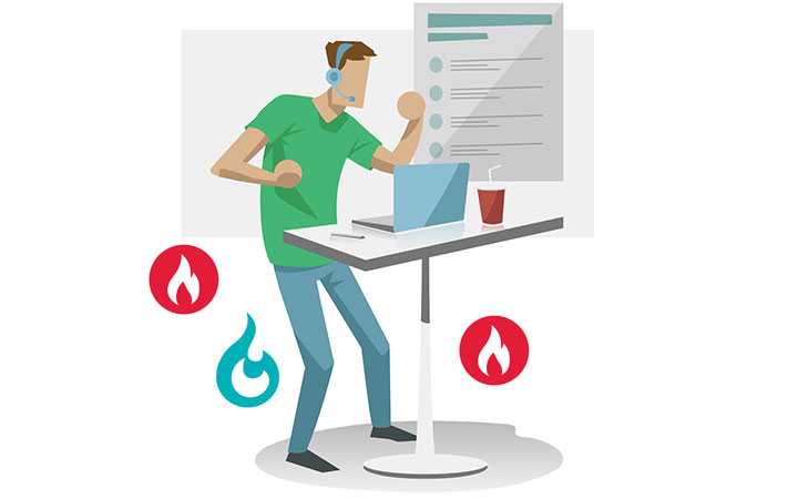 man standing up working and burning calories
