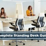 overview of standing desks with stools