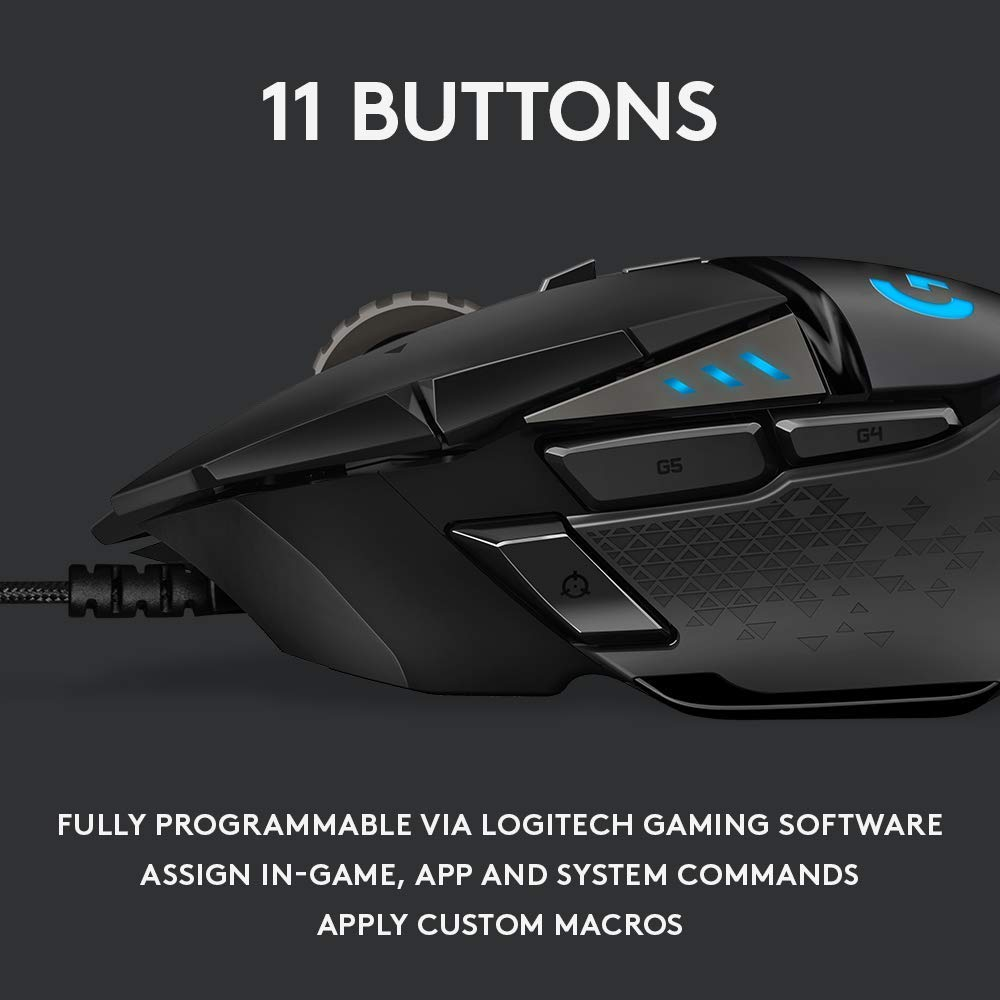 Logitech G502 HERO High Performance Gaming Mouse Image 3 with 11 buttons description