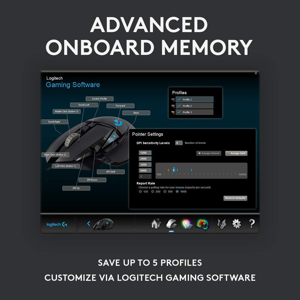 Logitech G502 HERO High Performance Gaming Mouse Image 4 with advanced onboard memory description