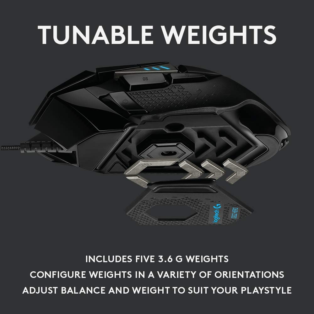 Logitech G502 HERO High Performance Gaming Mouse Image 5 with tunable weights description