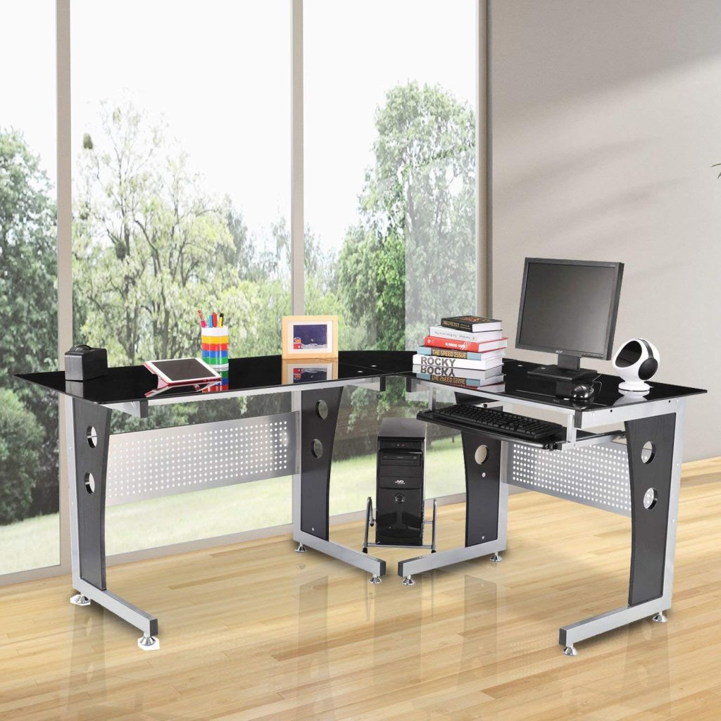 HomCom modern L shaped gaming desk glass top
