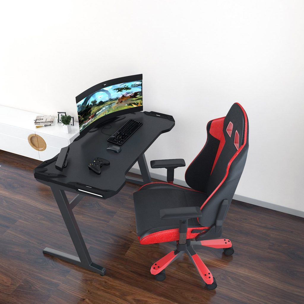 Modrine gaming desk with gaming chair