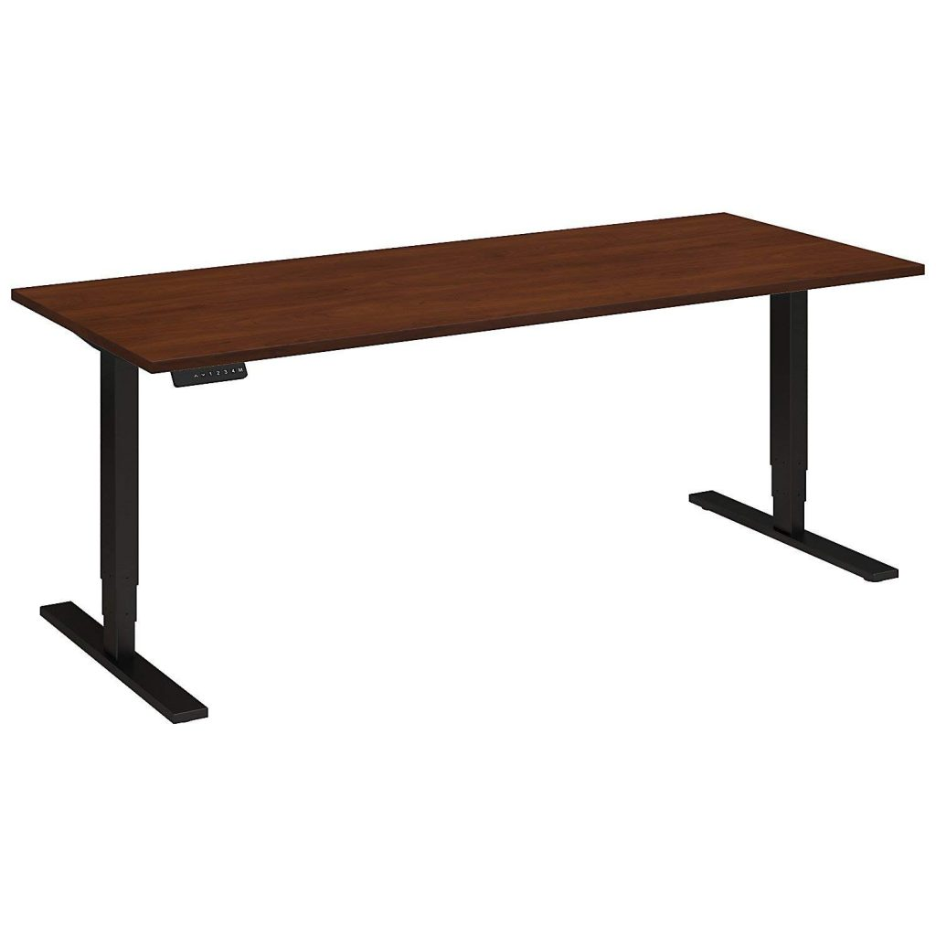 "bush business furniture 80"" cherry motorized stand up desk"