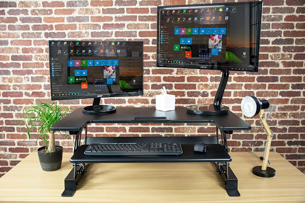 "VIVO standing desk converter varidesk pro plus alternative 36"" wide with dual monitors"