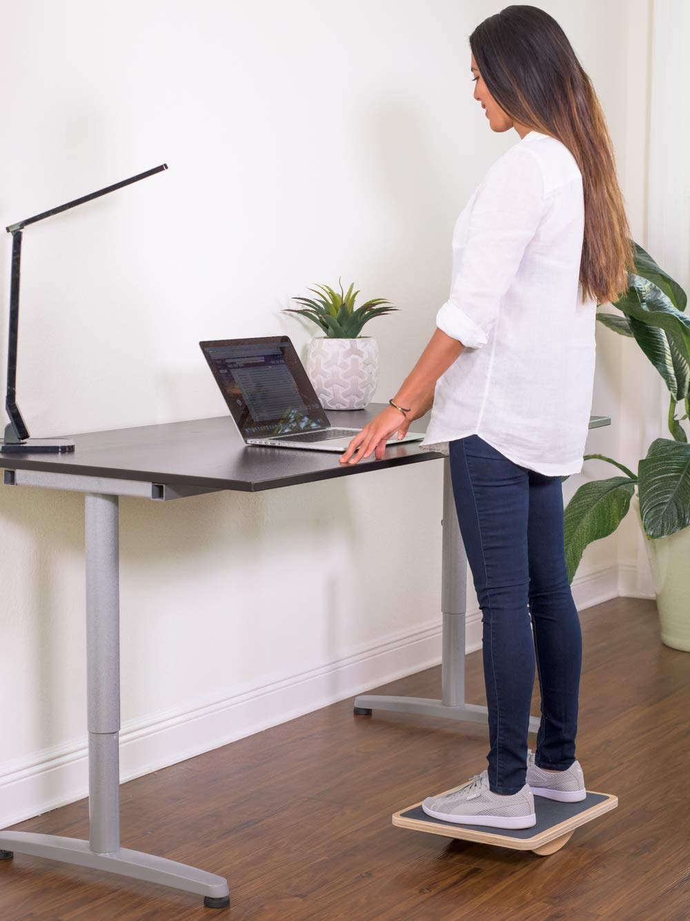 wooden standing desk balance board