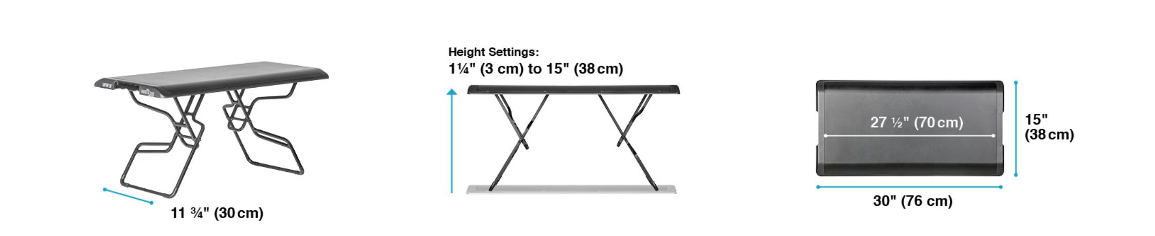 varidesk laptop 30 dimensions