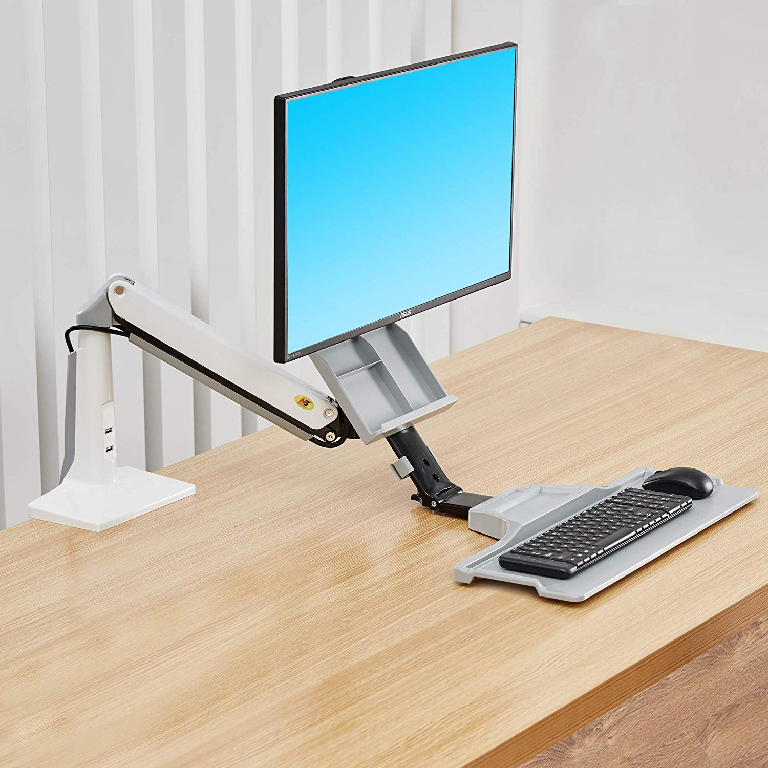 monitor arm with keyboard tray