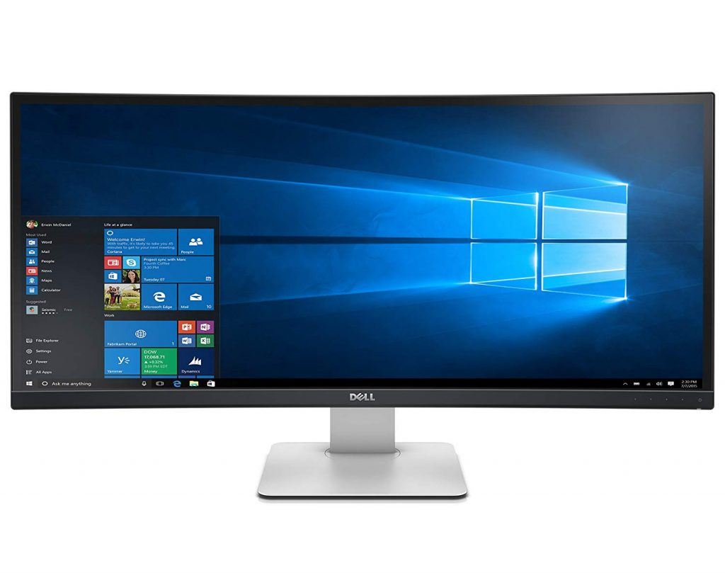 "dell ultra sharp 34"" curved led super wide monitor"