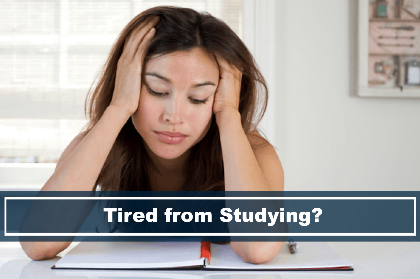 woman tired from studying