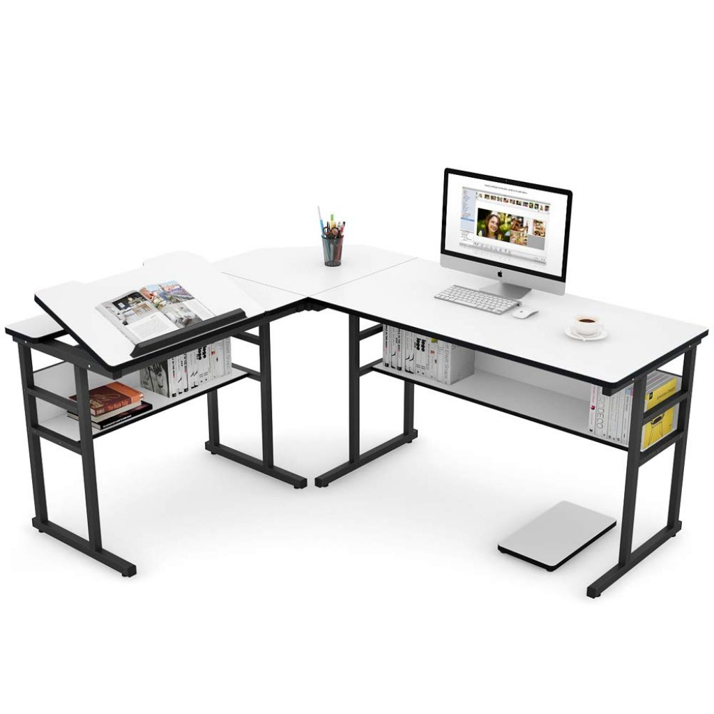 Tribesigns Modern L-Shaped Desk with Bookshelf and drafting table