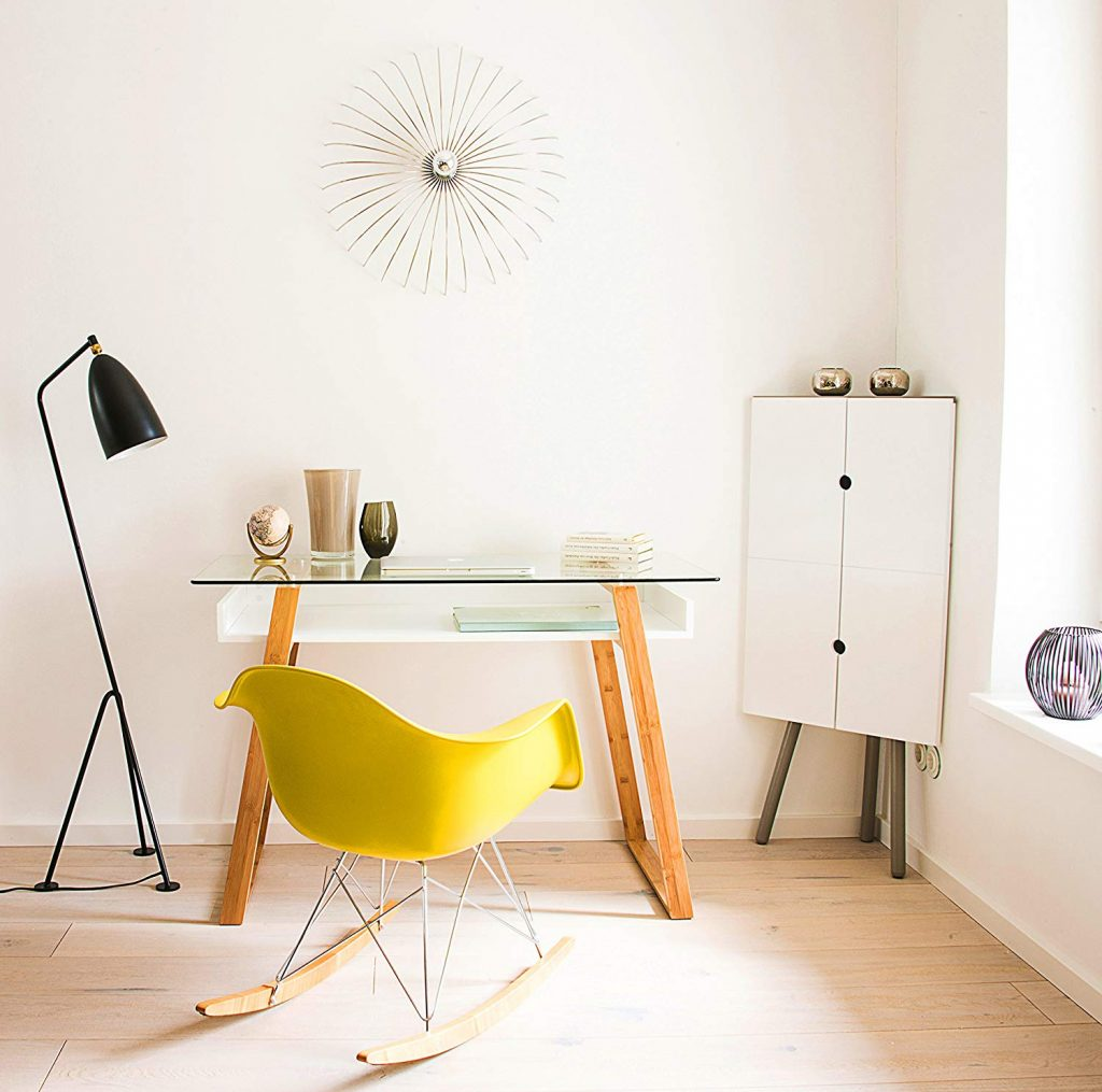 contemporary home office desk with yellow rocking chair