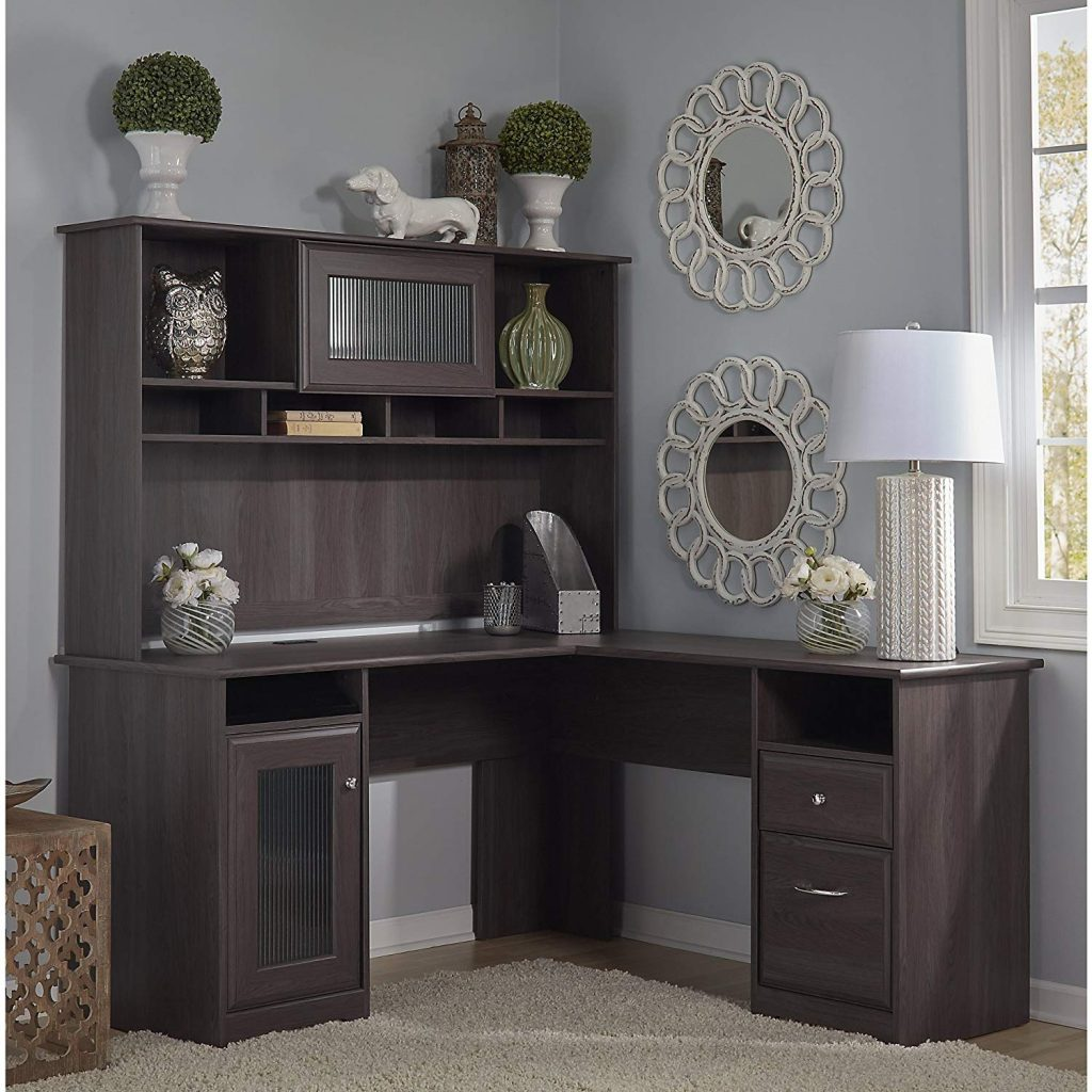decorative l-shape home office desk with hutch