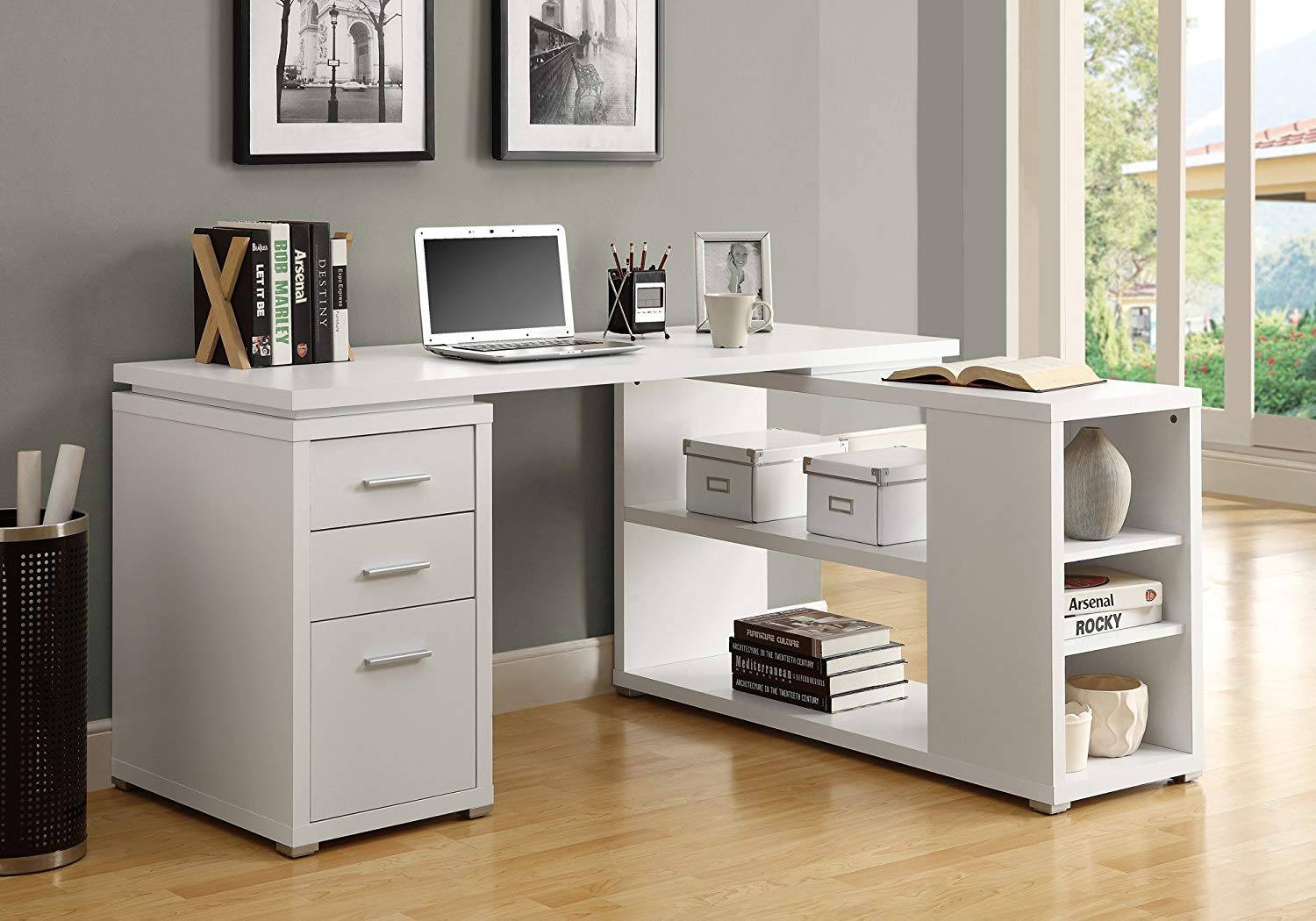White L Shape Desk for Home Office from Monarch Specialties
